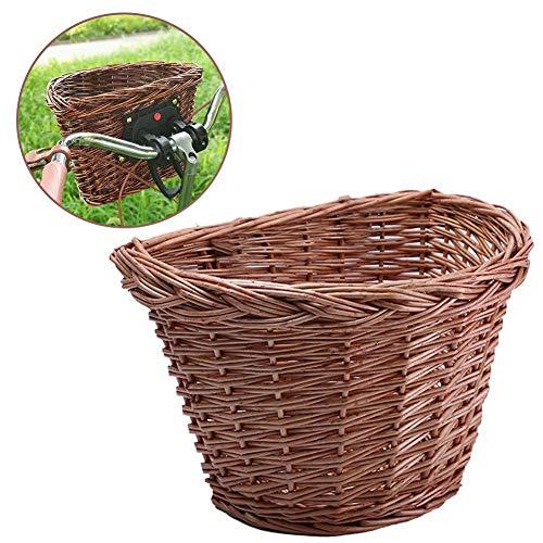 Seasaleshop Fahrradkorb   Retro Lenkerkorb Wicker Large Capacity Aufbewahrungsbox   Picknickkorb Einkaufskorb Mit Lederriemen