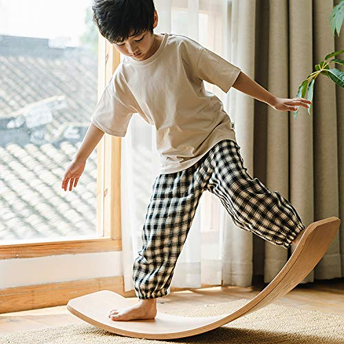 Kurala Wooden Balance Board, Balance Board with Gray Felt Layer Wobble Board, Waldorf Toys, Kid Yoga Board, Curvy Board, Wooden Rocker Board Kid Size