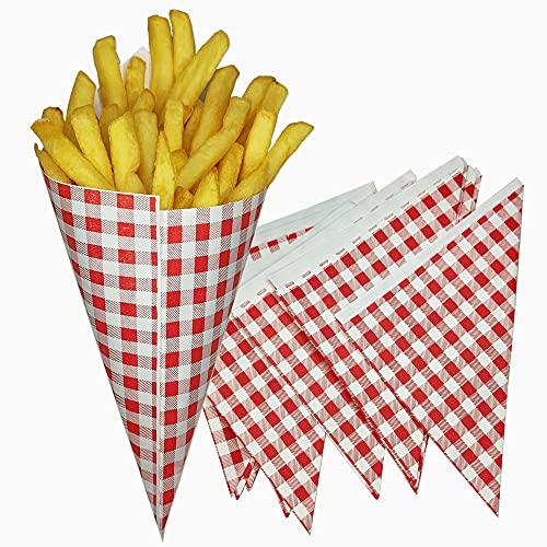 Tocnvoe - Spitztüten Papier, 100 units, Pommes Körbchen, Papierkegel, Papier Fettdicht, Pommestüten, Papiertüten, Mahlzeiten zum Mitnehmen, 14x14x20 cm