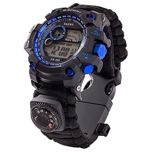 50 M Waterproof Tactical Watch,7 in 1 Multifunctional Outdoor Watch Gear