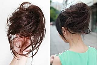 natural black : X&Y ANGEL- New Charming Wavy Bun With Strip Hairdo Scrunchie Ponytail Hairpiece Hair Extensions H005 (natural black)