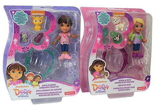 Figuras de Dora y Sus Amigos en Juegos de 2, Mini Figuras de 7,5 cm para coleccionar y Jugar con Accesorios, Juego de Juegos para niñas, niños (Dora und Alana)