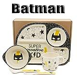 Fibre de Bambou Set de vaisselle pour enfants, Héros de Batman, 5 pièces, Service de vaisselle Couverts Kids, cuisine, sécurité Doublure Kit pour enfants, Message de motivation, Jouets,