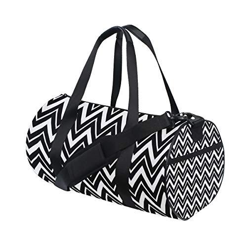 Bolsa de deporte de gimnasio, color blanco y negro, Chevrons bolsa de viaje para hombres y mujeres