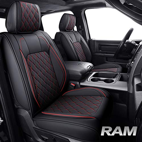 Aierxuan Ram Car Seat Covers Full Set Waterproof Leather Custom Fit 2009-2021 1500, 2010-2021 2500/3500 Crew Quad Regular Cab Truck Pickup Airbag Compatible with Split Bench 60/40(Full Set/Black-Red)