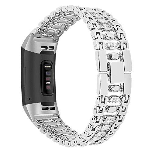 XIALEY Correa Compatible con Fitbit Charge 3/Charge 4, Banda para Mujer Pulseras De Diamantes De Imitación De Acero Inoxidable con Brazalete Metal para Charge 3/Charge 4,Plata