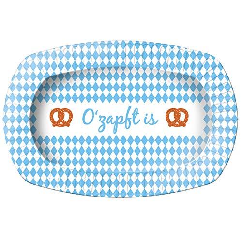 NET TOYS 6 Oktoberfest Grillteller | 24 x 16 cm | Außergewöhnliche Party-Deko Grillgeschirr O'zapft is | Ideal für Biergarten & Volksfest
