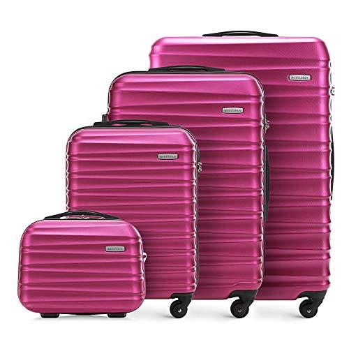 Set di 4 valigie avvolgibili solido Wittchen Carrello a conchiglia rigida in ABS con serratura a 4 ruote Rosa