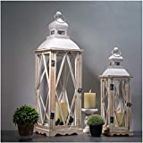 Glitzhome Farmhouse Wood Metal Lanterns Decorative Hanging Candle Lanterns White Set of 2 (No Glass)