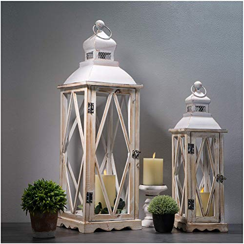 Glitzhome Farmhouse Wood Metal Lanterns Decorative Hanging Candle Lanterns White Set of 2 (No Glass)