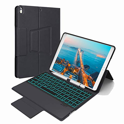 Enjoylife Tastatur Hülle für iPad 9.7, Bluetooth Tastatur Kompatibel mit iPad 9.7(2017/2018)/ iPad Pro 9.7/ iPad Air 1/ Air 2, 7 Farbe Hintergrundbeleuchtung QWERTZ Layout, Bleistifthalter & Ständer