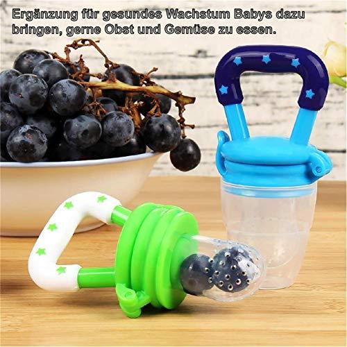 Fruchtsauger, Tinabless Schätzchen Schnuller Gemüse sauger für Schätzchen mit 2 und Clip (Blau und grün) - 5