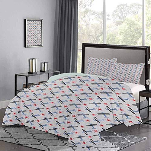 UNOSEKS LANZON - Juego de colcha geométrica de avión con diseño de estrellas, diseño de rayas, juego de cama de lujo, fresco, ligero, azul, rojo, gris, tamaño doble