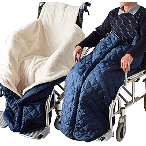 GuoYQ Warm and Comfort Wheelchair Blanket Fleece Lined Blanket with Ring Pulled Zipper Wheelchair Leg Cover Wheelchair Accessory for Winter Leg Foot Back, Wheelchair Cover