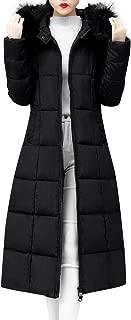 Women Long Winter Coat Faux Fur Hooded Collar Long Jackets Warm Thicken Cotton Padded Pockets Coat Outwear