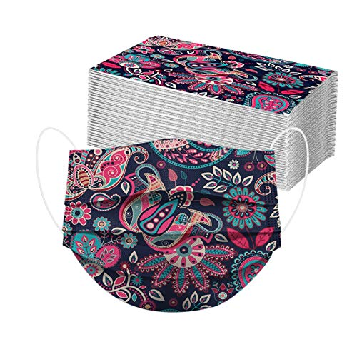 POTTOA 50pcs Paisley Floral Disposable Face_mask. with Designs for Women Girls Adults Colored Paper_Face_mask for Coronɑvịrus Protection Breathable 3 Layers with Nose Wire for Outdoor (50, Navy Blue)