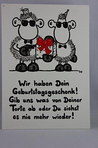 Sheepworld - 50205 - Postkarte, Nr. 8, Geburtstag, Schaf, Wir haben Dein Geburtstagsgeschenk! Gib uns was von Deiner Torte ab oder Du siehst es nie mehr wieder!