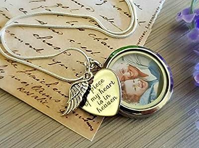 Chaîne ARGENT STERLING Collier photo médaillon Pendentif coeur gravé collier d'ange gardien bijoux commémoratifs pour les femmes