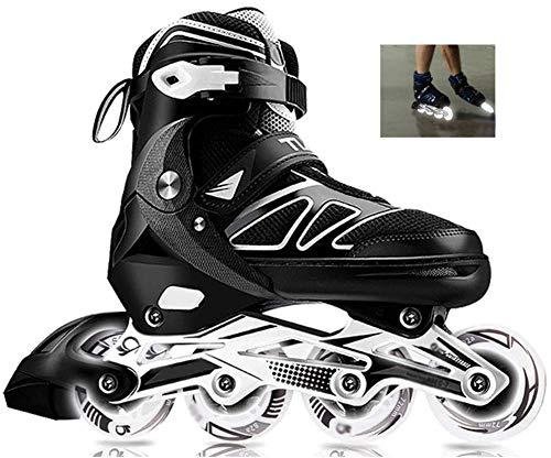 Outdoor Sport Verstellbare Inline-Skates Für Damen Und Herren Carbon Professional Rollerblade Rollschuhe Komfortable Skates Schuhe Eisschnelllauf Ideal Für Anfänger Für Erwachsene,Black-42to45