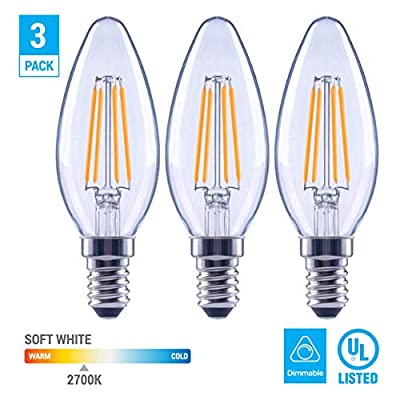 EcoSmart 60-Watt Equivalent B11 Dimmable Clear Filament Vintage Style LED Light Bulb Soft White