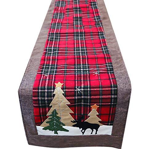 Enfei Chemin de table en coton avec broderie à carreaux rouges pour décorations de Noël Vert et rouge