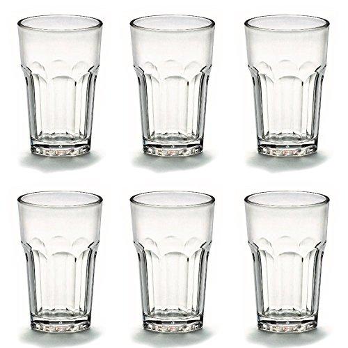 6 unzerbrechliche Latte Macchiato- Gläser aus hochwertigem Kunststoff(Polycarbonat) ca. 300 ml - stapelbar