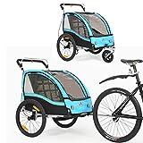 360 ° drehbarer multifunktionaler 2-in-1 Fahrradanhänger / Kinderwagen Zweisitzer Kinderwagen Transporter mit Handbremse / Federung BT503 (Blau)