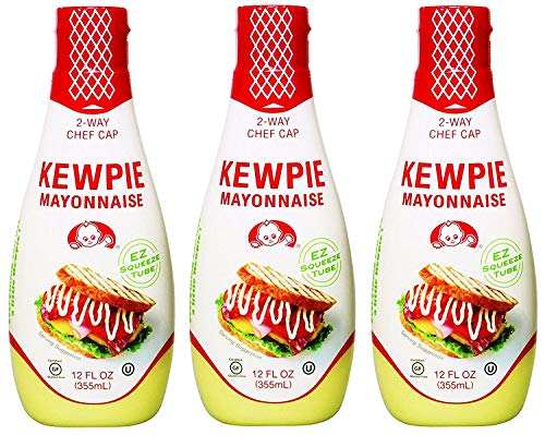 Kewpie Mayonnaise - Japanese Mayo Sandwich Spread Squeeze Bottle - 12 Ounces (Pack of 3)
