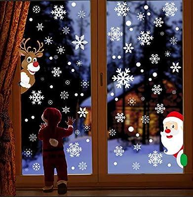 324Pcs Christmas Window Stickers Decorations,Christmas Window Stickers, Christmas Window Clings Decals with Snowflakes Santa Reindeer Xmas Window Stickers,PVC Staic Stickers for Christmas Window Display