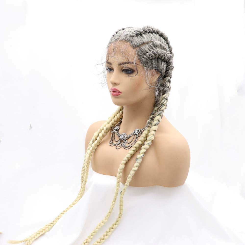 Melody Wig Ombre Grey Blonde Synthetic Wigs Wi Lace Braid Front A surprise price is NEW realized