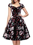 oten Women's Christmas Polka Dot Sugar Skull Vintage Swing Retro Rockabilly Cocktail Party Dress Cap Sleeve Black