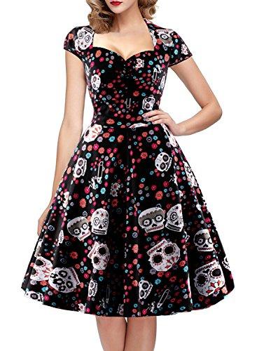oten Damen Rockabilly Gepunkte Zuckerschädel 1950er Vintage Kleid Cocktailkleid Flügelärmel, Schwarz, M