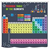 """UNIFEEL 2019 Updated Periodic Table of Elements Shower Curtain Colorful Design Grey Background. Science Freak Chemistry Lovers for Fun Learning, 71""""x71"""""""