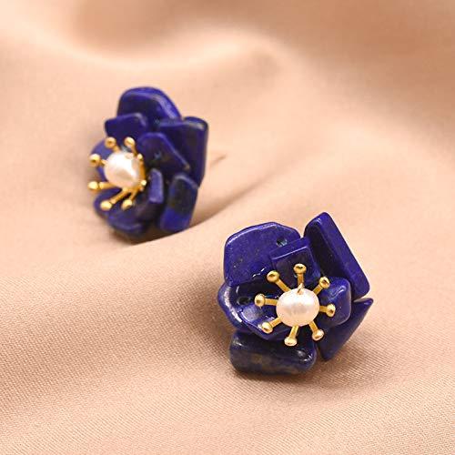SALAN Pendientes De Flor De Piedra De Lapislázuli para Mujer, Pendientes De Perla De Agua Dulce Natural para Fiesta, Joyería De Plata 925