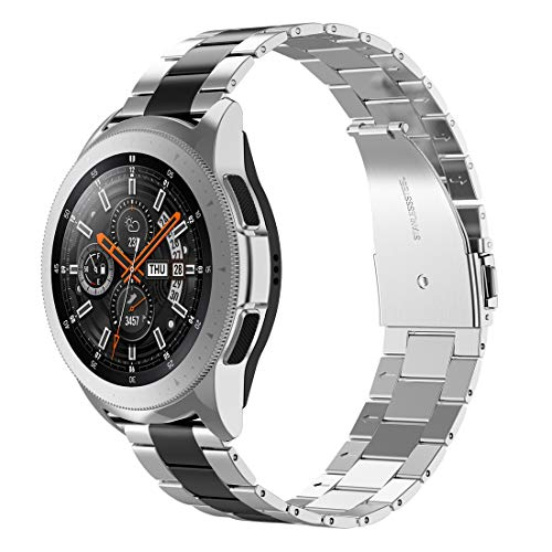 Wearlizer Stainless Steel Bands Compatible with Samsung Galaxy Watch (42mm)/Gear Sport Bands,Ultra-Thin Lightweight Replacement Band Compatible for Galaxy Watch Active/Active2(42mm,Black+Silver)