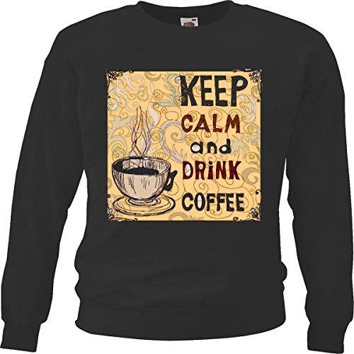 Sweatshirts Keep Calm en dranken, Cafe Life de Art, Streetwear Hiphop Sausa, Legendär, zwart