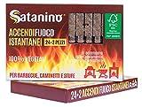 Satanino SA24AF Accendifuoco Istantaneo Ecologico 24+2 Cubi, Marrone, 21x12x2 cm...