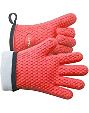 Loveuing Kitchen Oven Mitts - Silicone and Cotton Double-Layer Heat Resistant Oven Gloves/BBQ Gloves/Grill Gloves - Perfect for Baking and Grilling