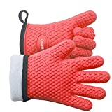 LoveU. Oven Mitts - Silicone and Cotton Double-Layer Heat Resistant Gloves/Silicone Gloves/Oven...