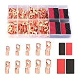 Tsinglax 120Pcs Copper Wire Lugs [AWG2 4 6 8 10 12] with Heat Shrink Set, 60Pcs Battery Cable Lugs Battery Cable Ends Ring Terminals Connectors with 60Pcs Heat Shrink Tubing Assortment Kit