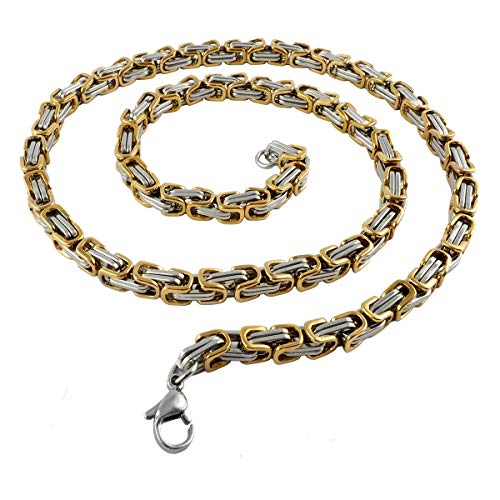 König Design 5 mm Königskette Armband Herrenkette Männer Kette Halskette Panzerkette, 17 cm Silber/Gold Edelstahl Ketten