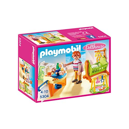 PLAYMOBIL Dollhouse Baby Room with Cradle Figura de construcción - Figuras de construcción (Multicolor,, 4 año(s), 10 año(s), Chica, 2 Pieza(s))
