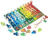 OHOME : Jouet Puzzle Montessori en Bois 6 en 1, Jeu éducatif Enfants 3 4 5 6 Ans Apprendre Les Lettres Les Formes et Les Mathématiques Compter Les Nombres – Chiffres