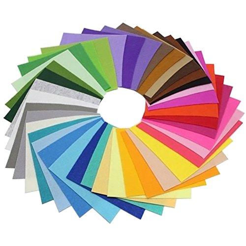 SUPVOX 40 peças de folhas de tecido de feltro, folhas quadradas de patchwork para artesanato faça você mesmo, scrapbooks, tamanho 15 x 15 cm
