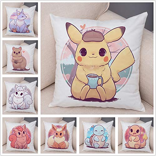 LEV Cushion Cover - Cushion Cover Decor Colorful Cute Cartoon Animal Pillowcase Pillow for Sofa car Home Plush Pillow Cover 45x45cm - by 1 PCs