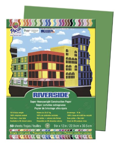 """Riverside 103596 Construction Paper, 0.4"""" Height, 9"""" Width, 12.1"""" Length, Green (Pack of 50)"""
