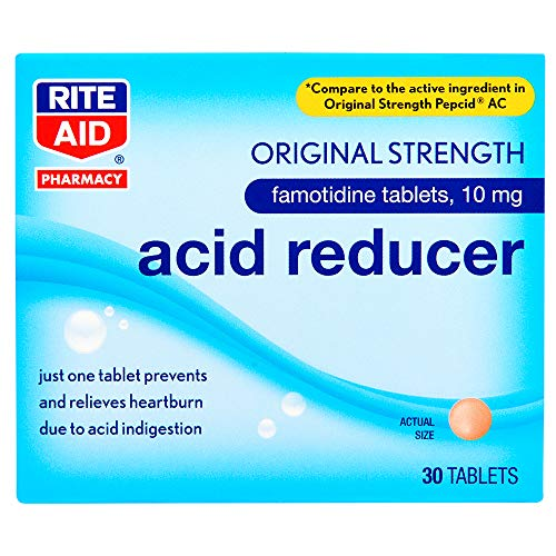 Rite Aid Acid Reducer, Original Strength Famotidine Tablets, 10 mg - 30 Count Total | Heartburn Relief | Acid Reflux | Antacid Chews & Tablets, Heartburn Chews & Tablets