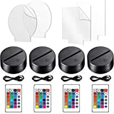 4 Pieces 3D Night LED Light Lamp Base with 4 Pieces Acrylic Glass Panel Remote Control USB Cable 16 Colors Lamp Light Display Base Show Stand for Room Restaurant Bar Shop Cafe Office (Black)