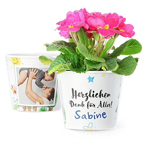 MyFacepot Blumentopf (ø16cm) | Erzieherin Geschenk für Kindergarten Abschied, mit Rahmen für 2 Fotos (10x15cm) | Herzlichen Dank für Alles!