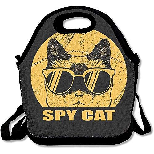 Mochila de almuerzo de neopreno para niños Gafas de gato espía Bolsas de almuerzo Bolsas de almuerzo Bolsas de almuerzo Bolso con correa de hombro ajustable para niños Niñas Adolescentes